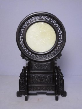 Nice Hand Carved Chinese White Jade Inset Table Screen