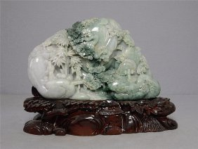Large Well Hand Carved Chinese Jadite Of Boulder
