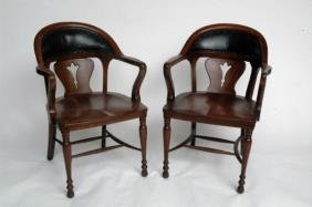 Four Oak & Leather Office Chairs