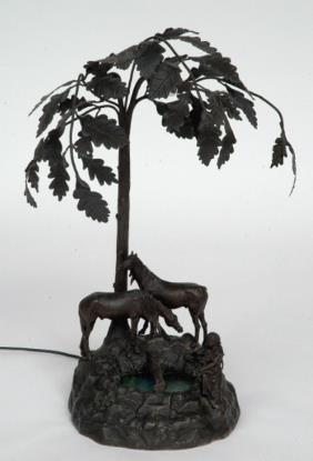 Spelter Equestrian Lamp