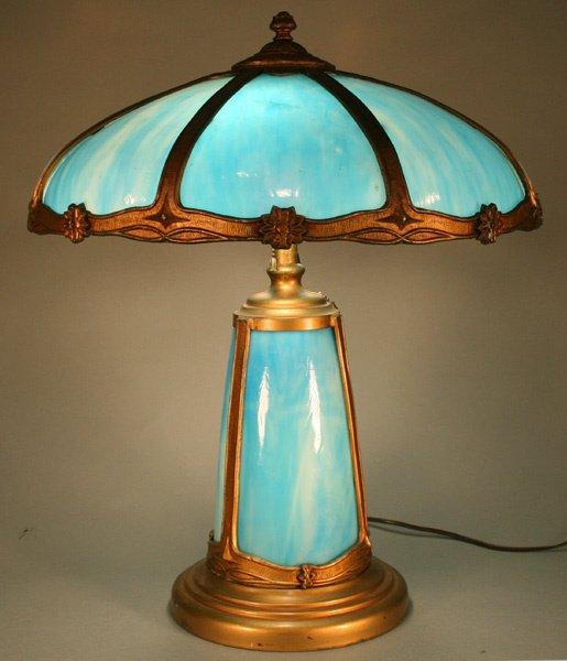 304 slag glass panel lamp lit base blue glass lot 304. Black Bedroom Furniture Sets. Home Design Ideas
