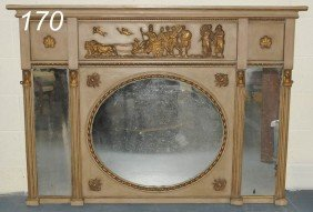 EGYPTIAN REVIVAL OVERMANTLE MIRROR With Later Surf