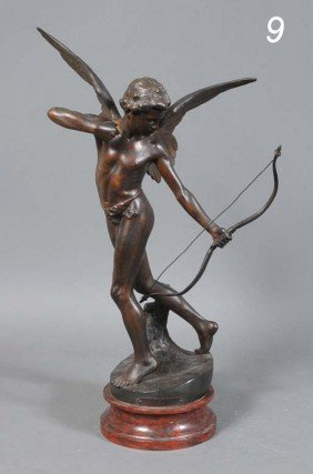 FRENCH CAST METAL FIGURE OF CUPID Amour L'Arc 23 1/2