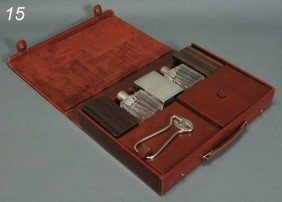 HERMES LEATHER CASED TRAVEL VANITY SET Including Ea