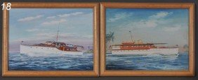 "JOHN AUSTIN TAYLOR Pair Watercolors Of Yachts 15""x"