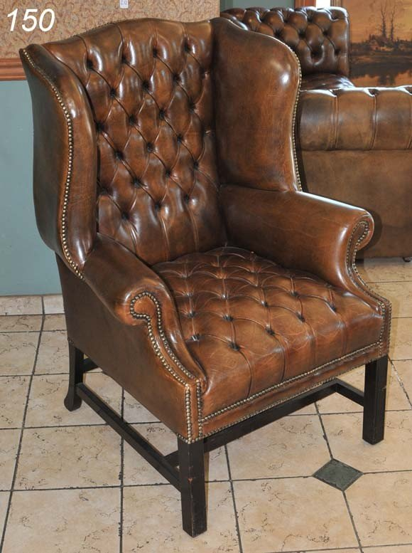 150 Brown Leather Tufted Wingback Chair 44 Quot High Lot 150