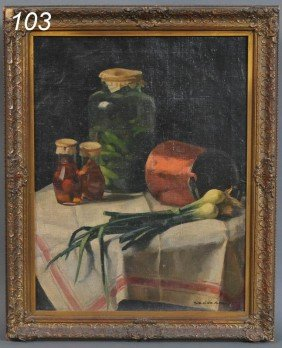 "HUNGARIAN SCHOOL Still Life With Onions 26""x20"" Oi"