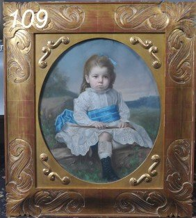 "L.S. TRULL Portrait Of A Girl With Blue Sash 28""x"