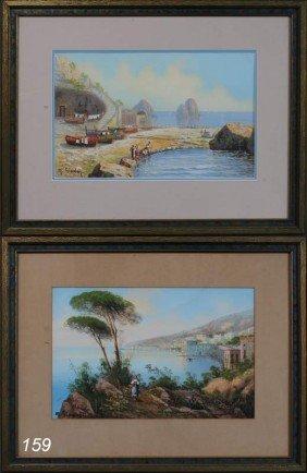 M. GIANNI Pair Of Neopolitan Coastal Scenes Each 1