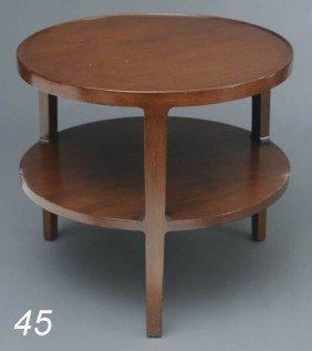 "DUNBAR TWO-TIER SIDE TABLE 25"" High, 28"" Diameter M"