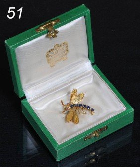 CARTIER 18K GOLD AND SAPPHIRE DRAGONFLY BROOCH With
