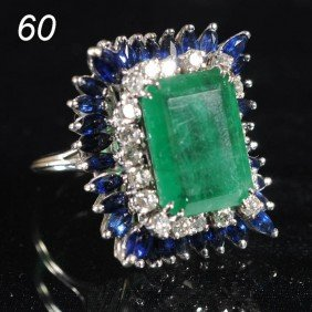 EMERALD RING 14k Gold With Diamonds And Sapphires