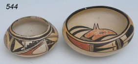 PAIR OF HOPI POTS One With Interior Decoration Lar
