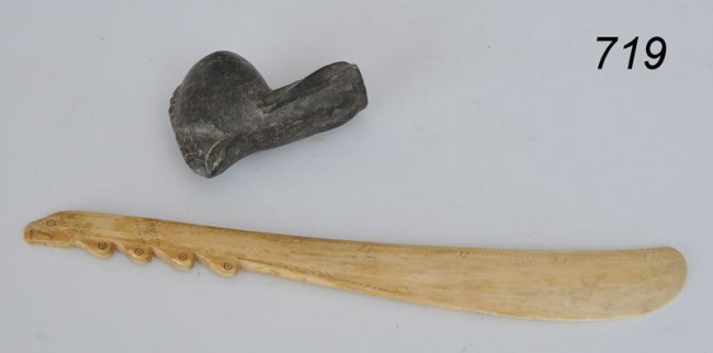Carved Stone Pipe : Inuit carved stone pipe and eskimo story knife lot