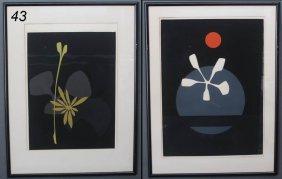 "THOMAS W. BENTON Pair Abstract Lithographs Each 24"""