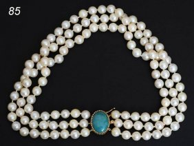 TRIPLE STRAND PEARL NECKLACE With 14k Gold And Jade