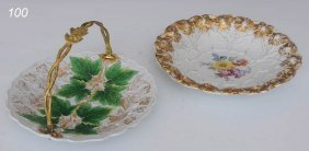 PAIR OF MEISSEN SERVING DISHES Basket And Low Bowl