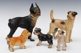 Group Of Five Cast Iron Dog Door Stops