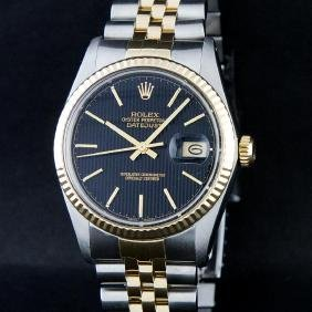Rolex Two-tone Black Tapestry Index Dial Datejust Men's