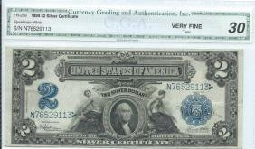 1899 Cga Vf $2 Silver Certificate Currency