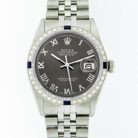 Rolex Stainless Steel Dark Rhodium Roman Sapphire