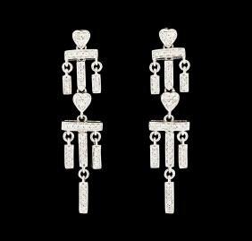 0.50 Ctw Diamond Earrings - 18kt White Gold