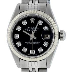 Rolex Ladies Stainless Steel Black Diamond And White