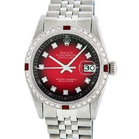 Rolex Stainless Steel 1.00 Ctw Diamond And Ruby
