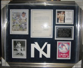 Babe Ruth Framed Signed Letter Collage
