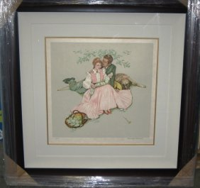 """Flowers In The Park"" Signed By Norman Rockwell"