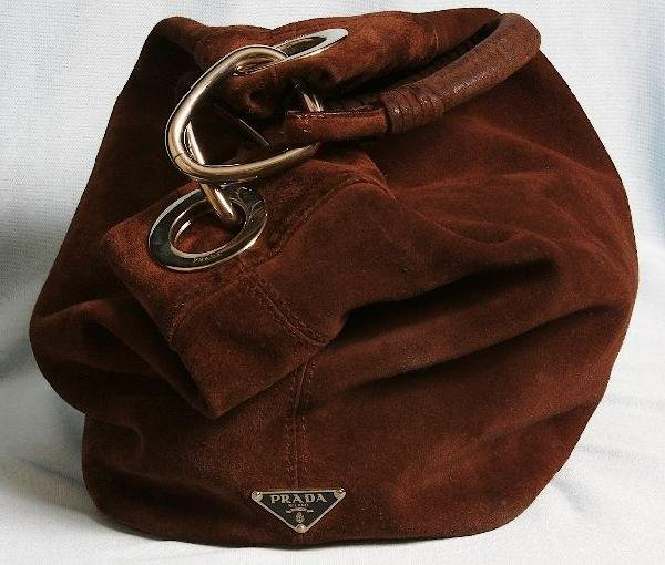 brown suede prada handbag