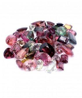 Natural Multi-Color Tourmaline Parcel 54 Gemstones 55.2