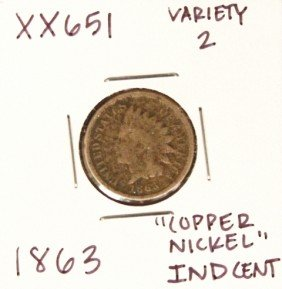 1863 Variety 2 'Copper Nickel' Indian Head Cent XX651