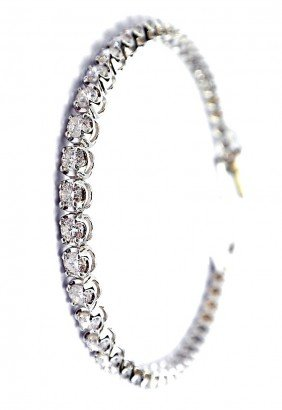 18KT White Gold 4.64ct Diamond Tennis Bracelet A3280
