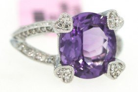 14KT White Gold 4.67ct Amethyst And Diamond Ring FJM905