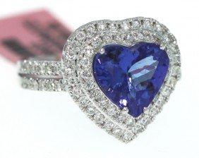 14KT White Gold 2.8ct Tanzanite And Diamond Heart Ring