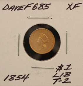 1854 $1 Type-2 XF Indian Princess Head Gold Coin DaveF6