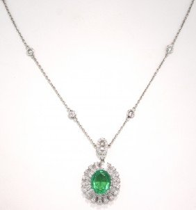 18KT White Gold 3.76ct Emerald And Diamond Necklace FJM