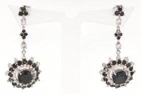14KT White Gold 6.47ct Black And White Diamond Earrings