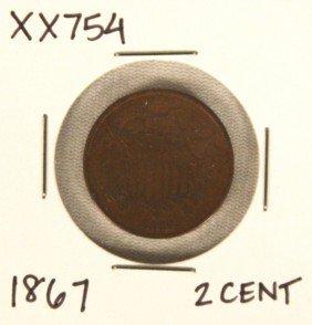 1867 Two Cent Piece XX754