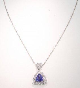 14KT White Gold 2.88ct Tanzanite And Diamond Pendant An
