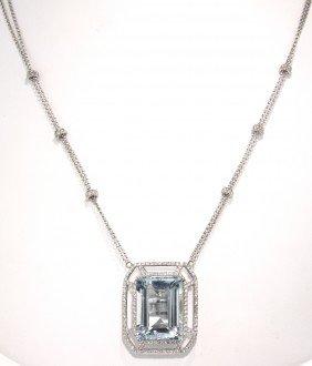 18KT White Gold 18.54ct Aquamarine And Diamond Necklace