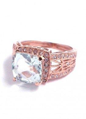 14KT Rose Gold 2.67ct Aquamarine And Diamond Ring A3613