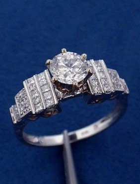 14KT White Gold 1.23ct Diamond Unity Ring A3504
