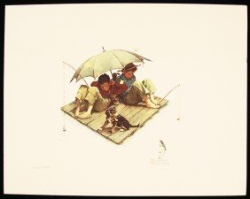 "Norman Rockwell ""Fisherman's Paradise"" Fine Art Pring A"