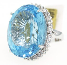 SILVER 93.21ct Blue Topaz And White Sapphire Ring RM286