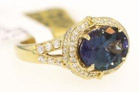 14KT Yellow Gold 3.53ct Tanzanite And Diamond Ring RM22