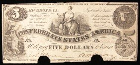1861 $5 Punched Confederate Currency Note Richmond BD29