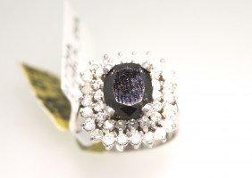 14KT White Gold 3.87ctw Black And White Diamond Ring RM