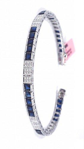 14KT White Gold 8.9ct Sapphire And Diamond Bracelet FJM